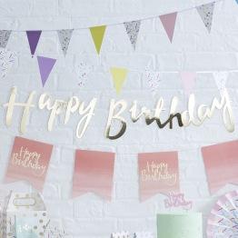 Banner 1,5m Guld Happy birthday -