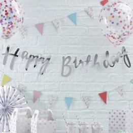 Banner 1,5m Silver Happy birthday -