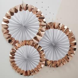 Vit/Rosé 3p Paper fan decorations -