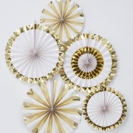 Vit/guld 5p Paper fan decorations -