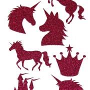 Stickers Unicorn cerise glitter 1 ark