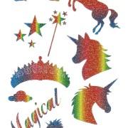 Stickers Unicorn rainbow glitter 1 ark
