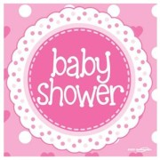 Servetter 33x33cm 16p Rosa baby shower