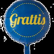 Folieballong 46cm Grattis gul och blå