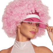 Peruk Afro rosa vuxna med solvisir