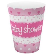 Pappersmuggar 266ml 8p Rosa Baby shower