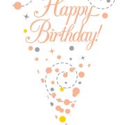 Vimpel 3,9m Happy birthday Rosé