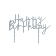 Cake topper glitter Silver Happy Birthday