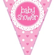 Vimpel 3,9m Baby shower Holografisk rosa