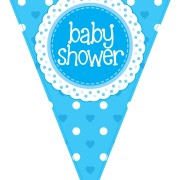 Vimpel 3,9m Baby shower Holografisk blå