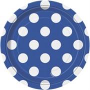 Pappersassietter 17,1cm 8p Dots Blå