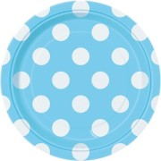 Pappersassietter 17,1cm 8p Dots Ljusblå
