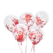 Konfettiballonger 30cm 5p Blodiga ballonger