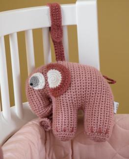 Musikmobil virkad rosa elefant.
