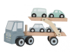 Lastbil m trailer i trä.