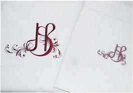 Ovanstående broderi är ett exempel på egendesignat monogram av brudparet. Detta går att ordna till en extra kostnad av 250:- för stygnsättning