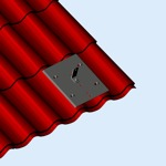 Takinfästning för takpanneplåt som efterliknar takpannor.