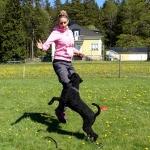 Sofia och Millie tränar på att hoppa samtidigt