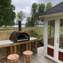 Clementi Family 60x80 cm med kopparfärgat tak, vedugn / pizzaugn