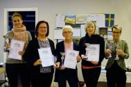 Glada ägare till vinnande katter i respektive kategori. Fr. v. Daniela Schöner, Annika Liljebrand, Kerstin Wallin, Linn Larsson och Ingegerd Blomqvist.