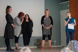 """Malin Sundqvist, Eva Porat, Anna Wilczek och Sirpa Lindelöf pratade """"samspel mellan domare och utställare""""."""