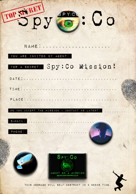 Spy:Co birthday invitation