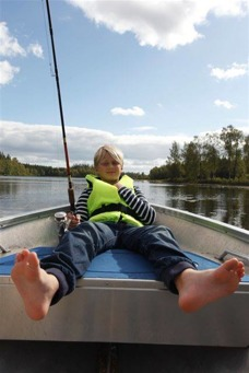 Boat fishing with children