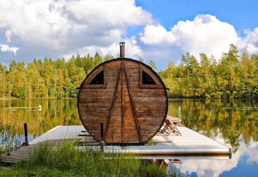 unique raft sauna lake sweden