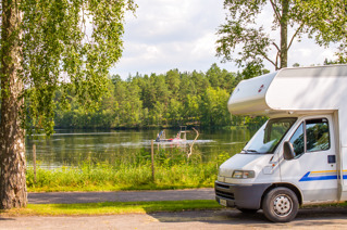 Motorhome caravan overnight lake sweden
