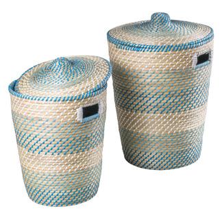 Tvättkorgar i två färger - Tvättkorgar turkos