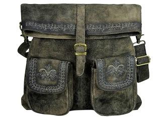Broderad läderväska -