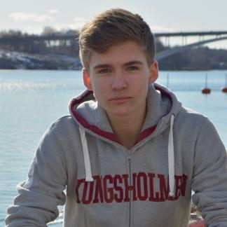 Kungsholmen hoodie grå-röd - XS