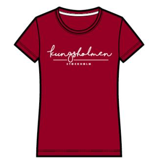 Kungsholmen T-shirt, dam - T-shirt, dammodell, burgundy, XS