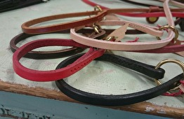 Retrieverkoppel i läder 120cm - Brun