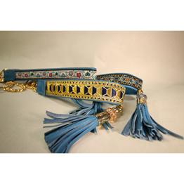 Skinnhalsband Turkos - Dekorband med tofs - 27 cm