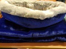 Sovsäck 80x70 cm - Royalblue & beige