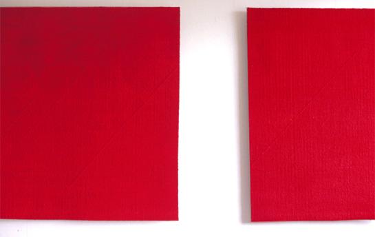 Minnet av rött, bildväv, diptyk (275 x 110 cm) Foto: Henrik Rosenqvist