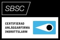 SBSC Anläggarfirma inbrottslarm Umeå klass 1 och 2 Svensk brand & säkerhetscertifiering AB Behörig ingengör