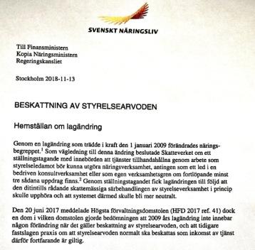 Förslag framtaget av Svenskt Näringsliv