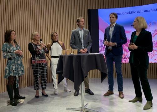 Deltagare i samtalet Angelica Ewö Reimer, PwC, Christina och Åsa Wahlström, Mama Mia, Erik och Magnus Brandberg, Gullspång Invest samt jag själv som modererade