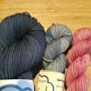 Sockgarnspaket - Mörkblå, grå/blå, rosa