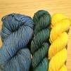 Sockgarnspaket - Blå, mörkgrön, gul
