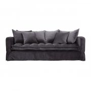 GREENWICH SOFA 3-S VELVET IRON GREY