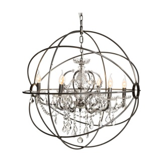 ROME CRYSTAL CEILING LAMP STEEL LARGE -