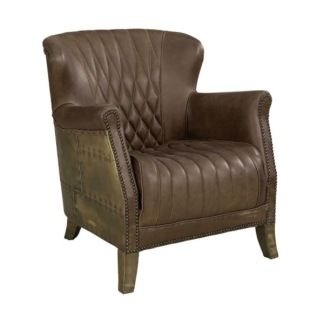 COOPER ARMCHAIR OLD BRASS/CHOCOLATE -