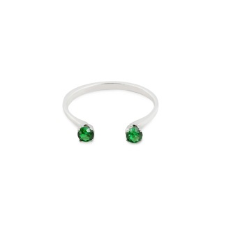 TWIN RING GREEN SILVER