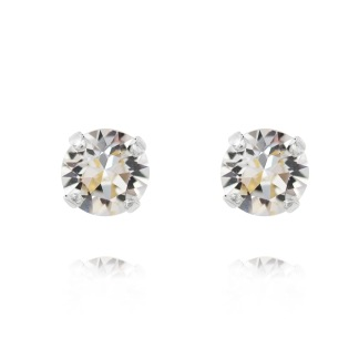 Classic Stud Earrings - Crystal  Silver