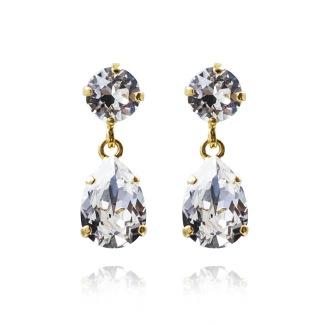 Mini Drop Earrings - Crystal Silver