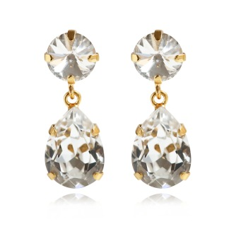 Classic Drop Earrings - Crystal Guld