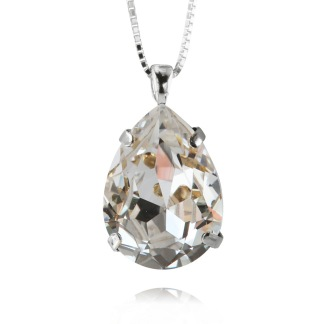 Classic Drop Necklace - Crystal Silver